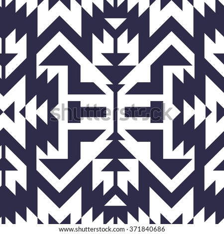 Seamless Vector Tribal Pattern for Textile Design. Stylish Monochrome Modern Art. Psychedelic Mix of Stripes and Triangles - stock vector