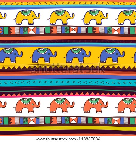 Seamless vector tribal texture with elephants - stock vector