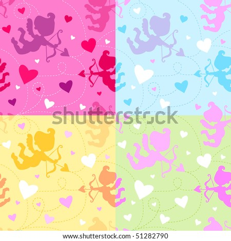 Seamless Vector Valentine pattern with cupids and hearts, in four color combinations.