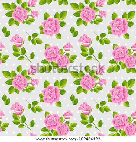 Seamless vector vintage pattern: pink roses on grey background - stock vector