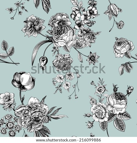 Seamless vector vintage pattern with Victorian bouquet of black and white flowers on a mint background. Garden roses, tulips, delphinium, petunia.  - stock vector