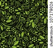 Seamless vector wallpaper. Green vegetation repeating pattern on a black background - stock vector