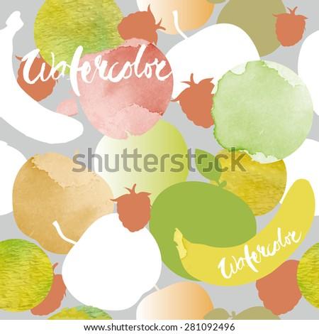 Seamless vector Watercolor fruit pattern - stock vector