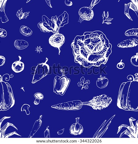 Seamless vegetable vector pattern drawn in ink by hand, for jewelry and decoration of packaging and recipe book, white icons on blue background