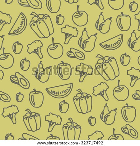 seamless vegetables fruits pattern