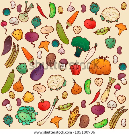 Seamless vegetables pattern on a light background. - stock vector