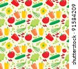 Seamless vegetables pattern. vector - stock vector