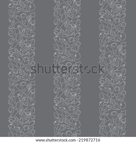 seamless vegetables silhouettes - stock vector
