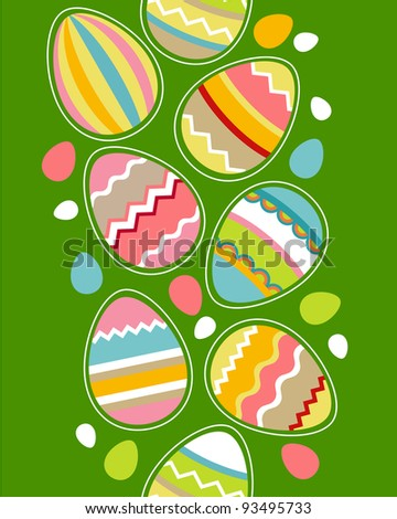 Seamless vertical border with easter eggs - stock vector