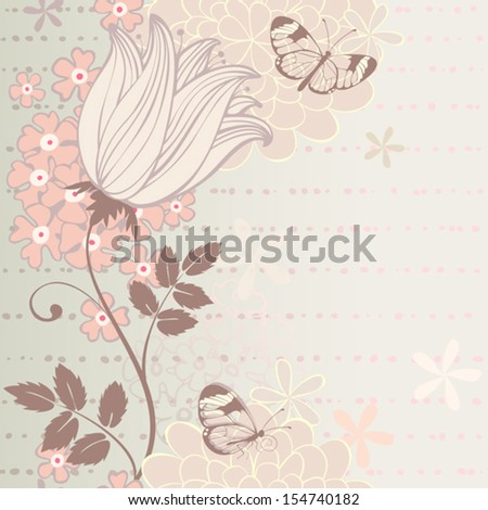 Seamless vertical border with flowers and butterflies. Vector greeting card - stock vector