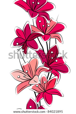 Seamless vertical border with red lilies on white - stock vector