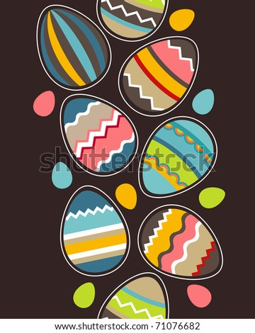 Seamless vertical spring pattern with easter eggs - stock vector