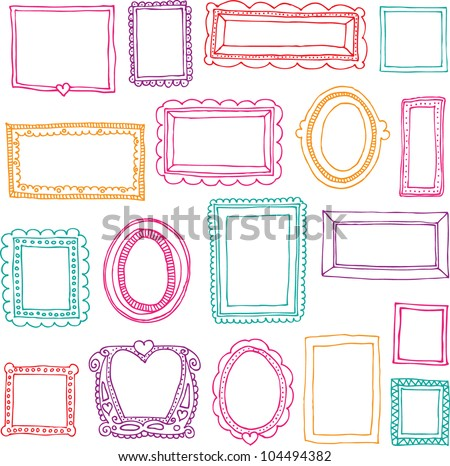Seamless victorian ornaments photo frames in vector - stock vector