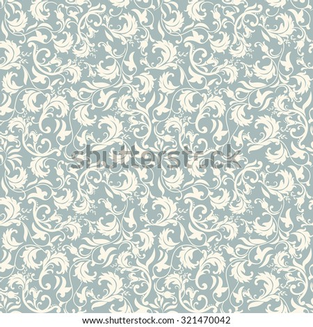 seamless victorian pattern in blue and beige