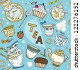 Seamless Victorian tea time pattern with spoon, dishes and some food. - stock vector