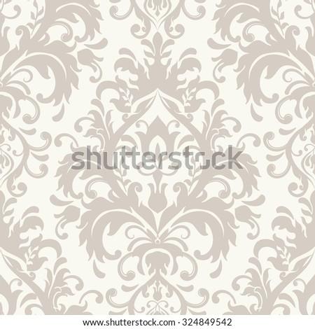 seamless victorian wallpaper in beige - stock vector