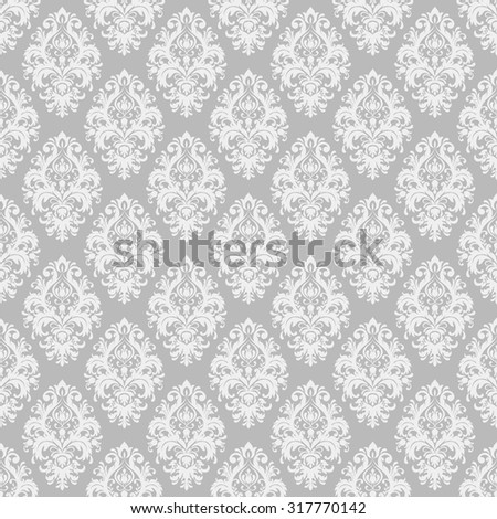 seamless victorian wallpaper in grey - stock vector