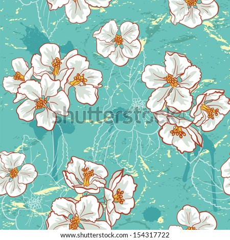 Seamless Vintage Apple Flower Pattern.