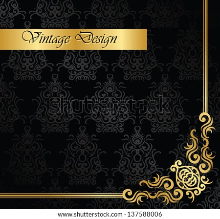 Seamless vintage background in black with a gold decoration. Seamless wallpaper. Retro design - stock vector