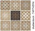 seamless vintage backgrounds set brown baroque wallpaper. Vector set - stock vector