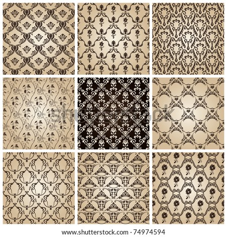 seamless vintage backgrounds set brown baroque wallpaper. Vector set - stock vector