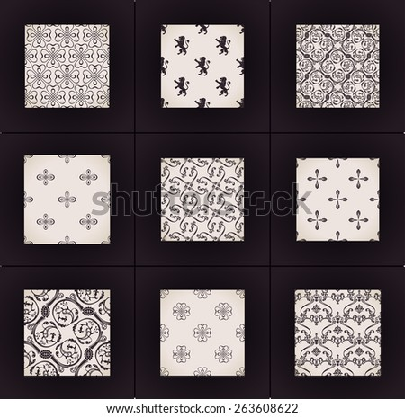 Seamless vintage backgrounds. Vector wallpapers set. Calligraphic ornament pattern texture - stock vector
