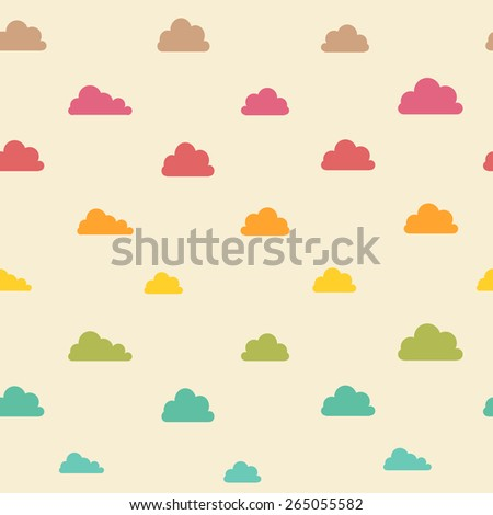 Seamless vintage beige colorful clouds pattern. - stock vector
