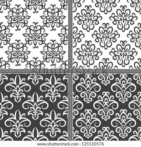 Seamless vintage damask pattern. Seamless pattern can be used for wallpaper, pattern fills, web page background,surface textures, wrapping paper, invitations. Floral textile background - stock vector