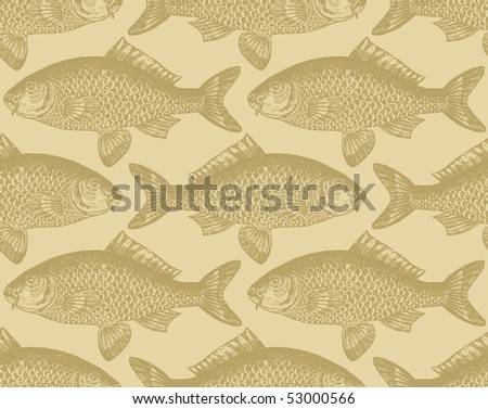 seamless vintage fish pattern, vector - stock vector