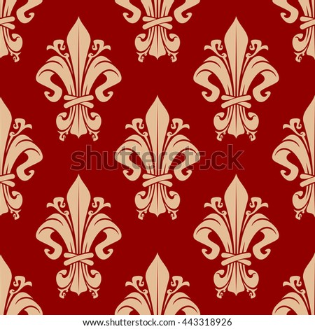Seamless vintage fleur-de-lis pattern of beige florid victorian ornaments with decorative leaves and tendrils on red background. May be use as upholstery textile or wallpaper design - stock vector