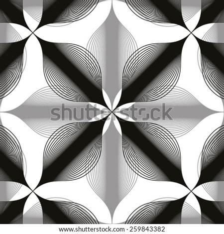 Seamless vintage floral background, monochrome geometric lined seamless pattern, black and white vector illustration. - stock vector