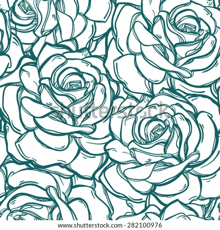 Seamless vintage floral pattern background with flowers of rose or peony. Isolated vector illustration. Design for fabrics, textiles, paper, wallpaper, web. Retro hand drawn ornament. Victorian style.