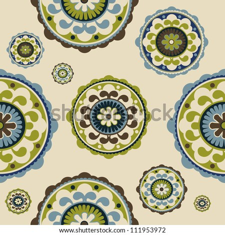 Seamless vintage floral pattern, vector - stock vector