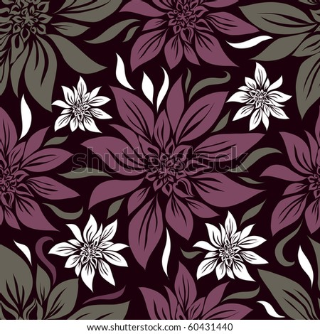 "Seamless vintage floral pattern with lilly (From my big ""Seamless collection"") - stock vector"