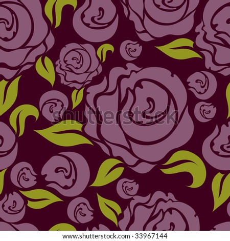 "Seamless vintage floral pattern with pink roses  (From my big ""Seamless collection"") - stock vector"