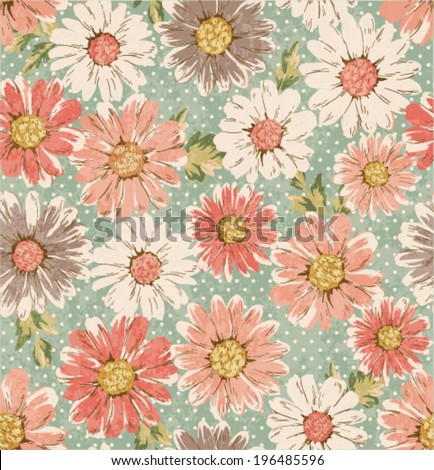 seamless vintage flower,daisy print pattern dots background  - stock vector