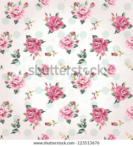 seamless vintage flower pattern grunge background - stock vector
