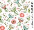 seamless vintage flower pattern line art. Vector illustration - stock vector
