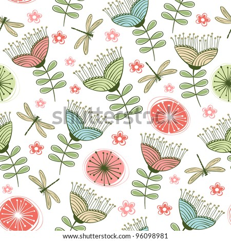 seamless vintage flower pattern line art. Vector illustration