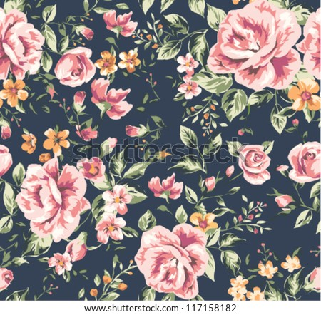 seamless vintage flower pattern on navy background - stock vector
