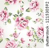 seamless vintage flower pattern vector background - stock photo