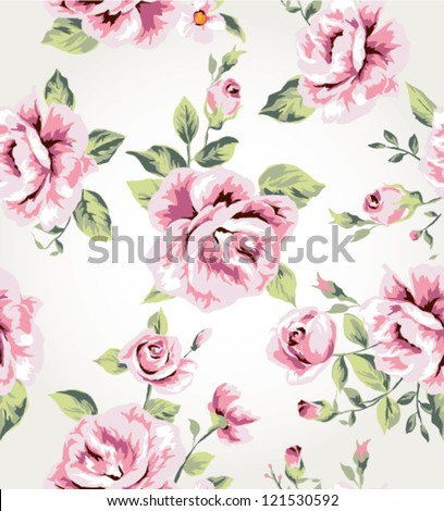 seamless vintage flower pattern vector background - stock vector