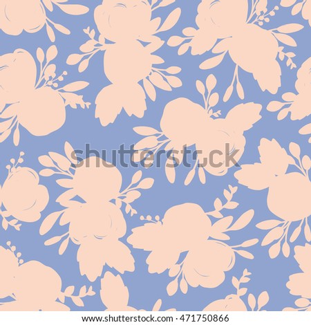 Seamless vintage flower silhouette pattern on blue background, vector floral pattern