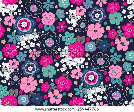 seamless vintage flowers pattern vector - stock vector