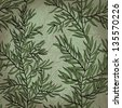Seamless vintage hand drawn background with rosemary plant. Eps10 - stock vector