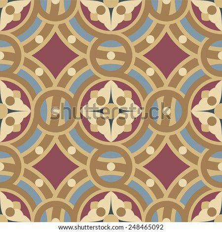 Seamless vintage ornamental tile pattern in ocher, brown, black, red, blue colors. The main element of mosaic is a flower in circles. - stock vector