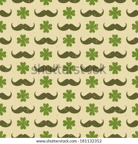 Seamless vintage pattern for St. Patrick's day with four-leaf clovers and mustaches. - stock vector