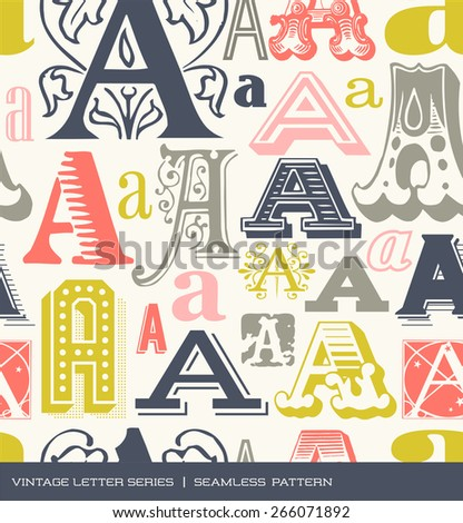 Seamless vintage pattern of the letter A in retro colors - stock vector