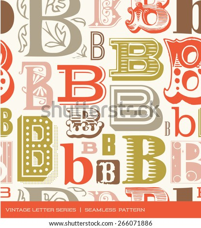 Seamless vintage pattern of the letter B in retro colors - stock vector
