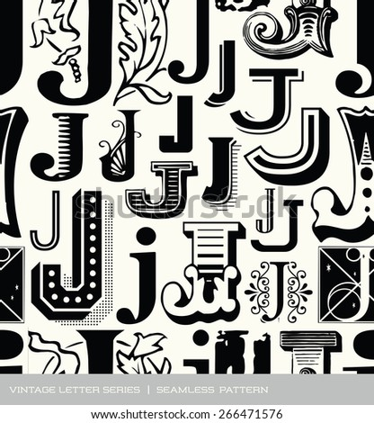 Seamless vintage pattern of the letter J - stock vector